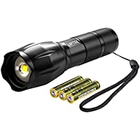 LOFTEK Ultra-Bright LED Tactical Flashlight Best for Camping, Outdoor, Emergency, Everyday Flashlights, 3(AAA) Batteries Included
