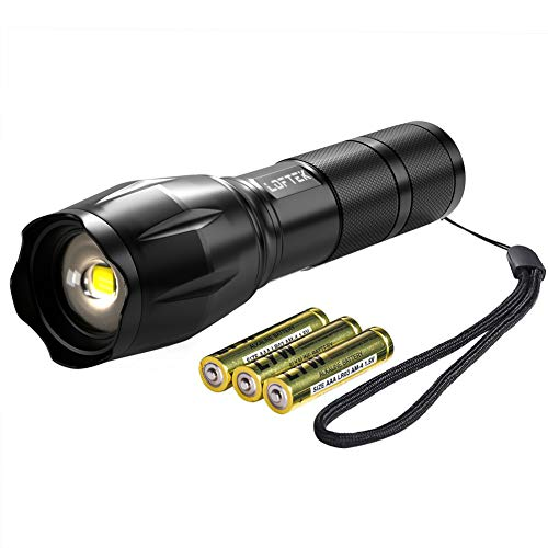 LOFTEK Ultra-Bright LED Tactical Flashlight, High Lumen, Zoomable, 5 Modes, Water Resistant, Handheld Light, Best for Camping, Outdoor, Emergency, Everyday Flashlights, 3(AAA) Batteries Included