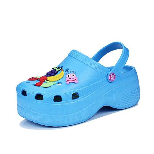 Zuecos De Jardín De Las Mujeres Zapatos Sandalias Zapatillas Plataforma Mule Zapatillas Tamaño 35-40 Blue