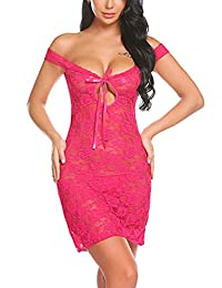 Avidlove Women Lingerie Lace Chemise Floral Nightgowns Outfits Red (FBA)