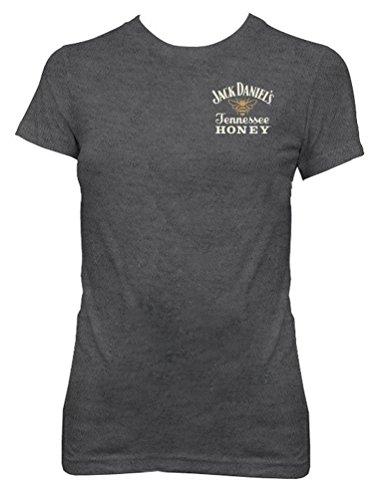 Jack Daniels Women's Daniel's Tennessee Honey Short Sleeve Tee Grey X-Large (Jack Daniels Tennessee Sour Mash Whiskey With Honey)