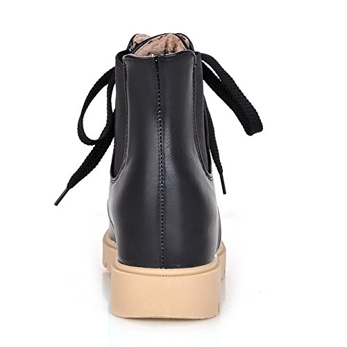 Allhqfashion Women's Round Closed Toe Kitten-Heels Soft Material Low-top Solid Boots Black 8nX03
