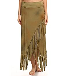 T-Party Womens Solid, Full Length Skirt In A Relaxed Style With An A-Line Silhouette And Fringe Detailing