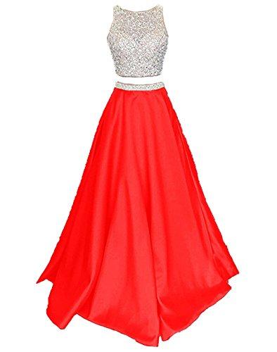 Ballkleider Damen Zwei Satin Rot Abiballkleider Abendkleider Lang Callmelady Stück tgqw1