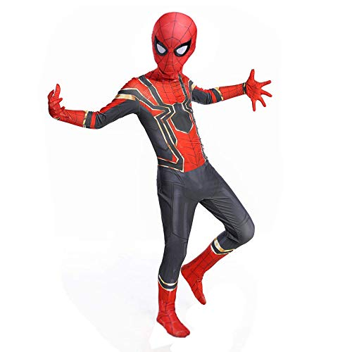 YongEnShang The Spider-Verse Kids Bodysuit Miles Morales Spiderman Costume Superhero Costumes Lycra Spandex Zentai Halloween Cosplay Costumes (110) -