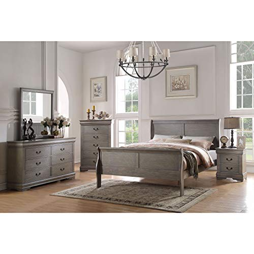 Acme Furniture Louis Philippe 4-Piece Bedroom Set, Antique Gray Eastern King