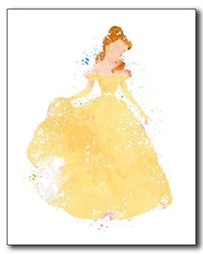 Belle Beauty and the Beast Disney Princess Watercolor Photo Prints - Unique Kids Wall
