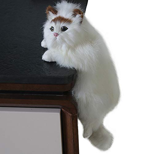 WINGOFFLY Realistic Plush Cat Simulation Model Toy Lifelike Stuffed Kitten Figurine for Home Decoration Ornaments,Right Side