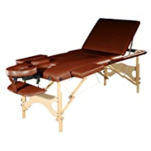 Sivan Health and Fitness ETL55-CHO Three Fold Reiki Portable Massage Table and Carrying Case, Chocolate