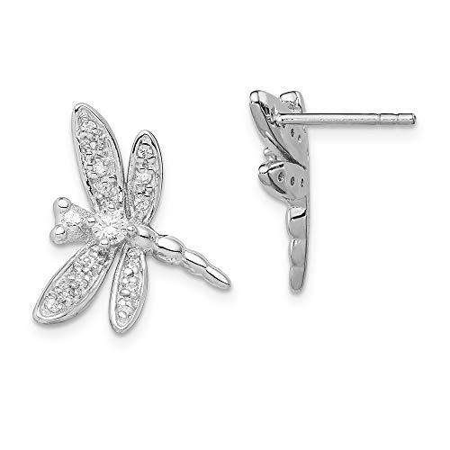Jewel Tie Sterling Silver CZ Cubic Zirconia Dragonfly Post Earrings (20mm x 17mm) ()