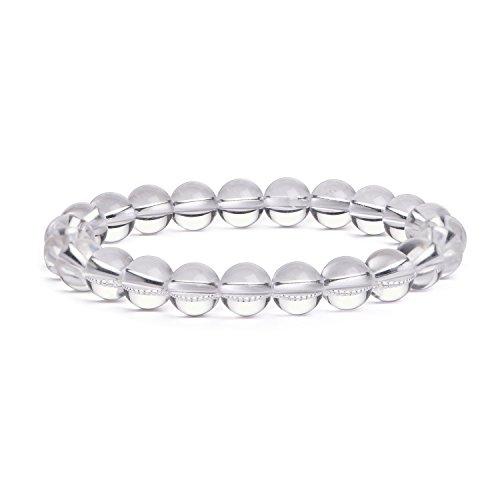 Clear Stone Gemstone (iSTONE Gemstone Bracelets Natural Gemstones Birthstone Handmade Healing Power Crystal Beads 7'' (8mm, Clear Quartz) 204703820)