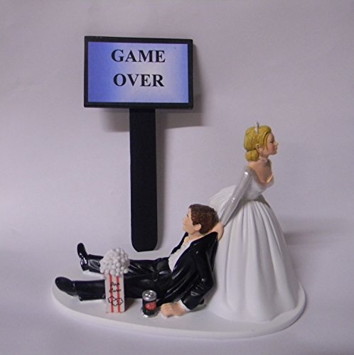 Wedding Reception Party Computer Game Over Sign Geek Nerd Cake Topper