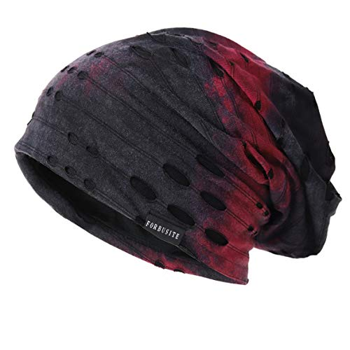 Ruphedy Mens Slouchy Beanie Skull Cap Summer Thin Baggy Oversized Knit Hat B301 (B090-a-Claret)