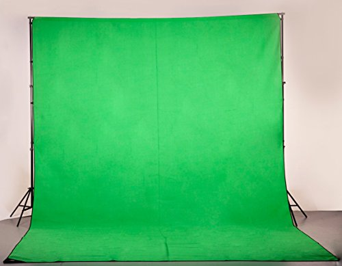 Digital Juice Chroma Pop Green Screen,12 Foot x18 Foot Portable Fabric Chromakey Backdrop Background Screen for Photo, Video Studio with Stand Kit, Carry Case and Sticky ()