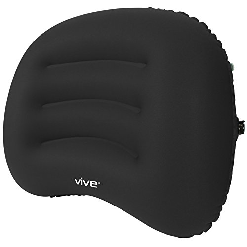Adjustable Lumbar Support Cushion - Inflatable Lumbar Support Cushion by Vive - Posture Correcting Backrest Pillow for Car, Office Chair, Lower Back and Neck Pain, Sciatica - Adjustable Relief (Black)