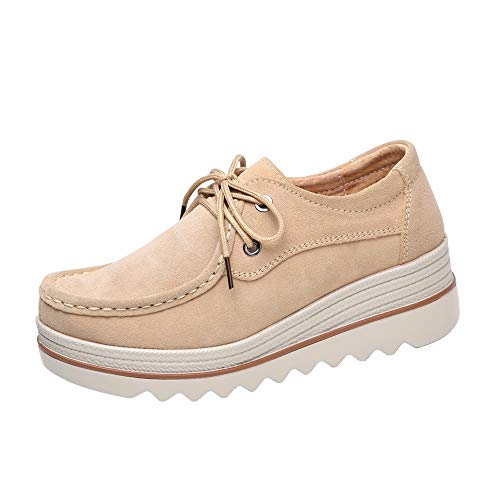 Sinzelimin Women Platform Slip On Loafers Comfort Suede Casual Moccasins Low Top Mid Heel Wedge Penny Shoes Khaki