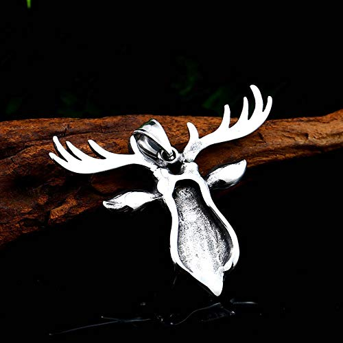 Davitu 316L Stainless Steel Cool Deer Head Amulet Nose Viking Necklace Men Gift Fashion Jewelry Animal LHP057 Metal Color: with Beads Chain