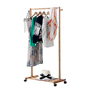 LIMAM Bamboo Garment Laundry Rack with 1-tier Shoe Clothes Storage Shelves Movable Single Rod Balcony Drying Rack Portable Clothing Rack(70x38x145cm)