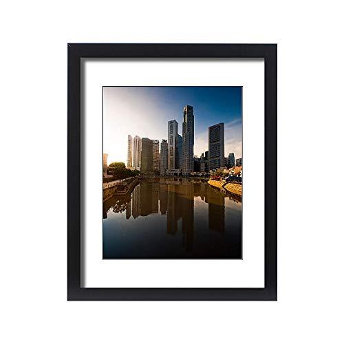 Media Storehouse Framed 20x16 Print of Morning Scene of Boat Quay Reflection (12116016)
