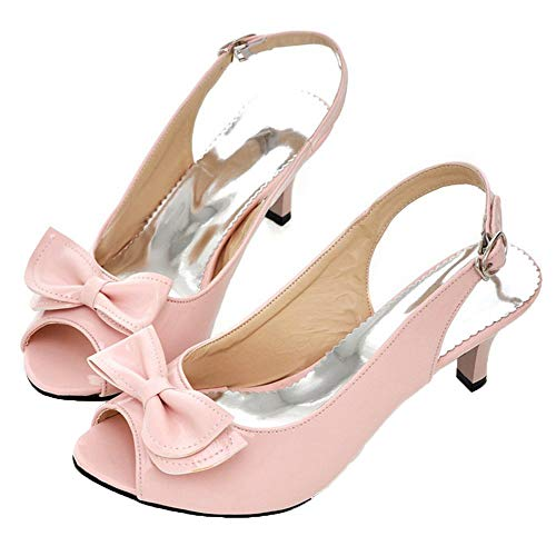 Vitalo Womens Peep Toe Kitten Heel Slingback Pumps with Bows Sandals Size 4 B(M) -