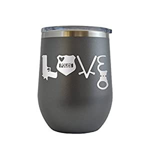 Police Love - Blue Lives Matter Engraved 12 oz Wine Tumbler Cup Glass Etched - Funny Gifts for him, her, mom, dad, husband, wife (Grey - 12 oz)