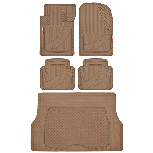 2000 Nissan Suv - FlexTough Advanced Performance Liners - 5pc HD Rubber Floor Mats & Cargo Liner for Car SUV Auto (Beige)