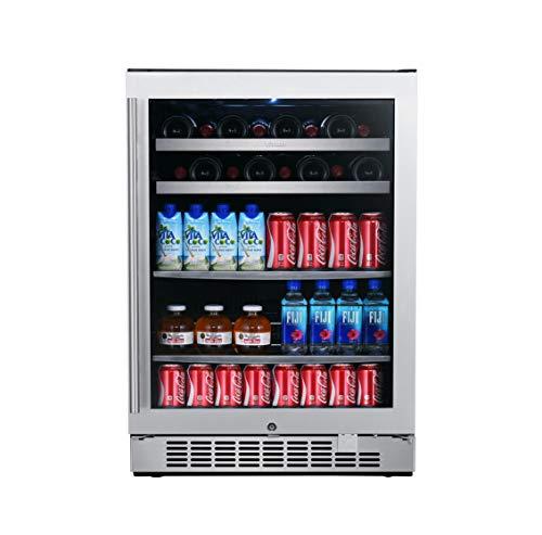 Titan 24 inch 84 Can&22 Bottle Built in Single Zone Wine and Beverage Cooler, 2 color LED Lighting in White&Blue, Roller Glide Wooden Shelves, Seamless SS Door, Door-Left-Open Alarm&High Temp Alarm