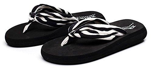 Sfnld Kvinna Avslappnad Sommar Rem Flip Flop Plattform Strand Sandaler Tofflor Svart 3