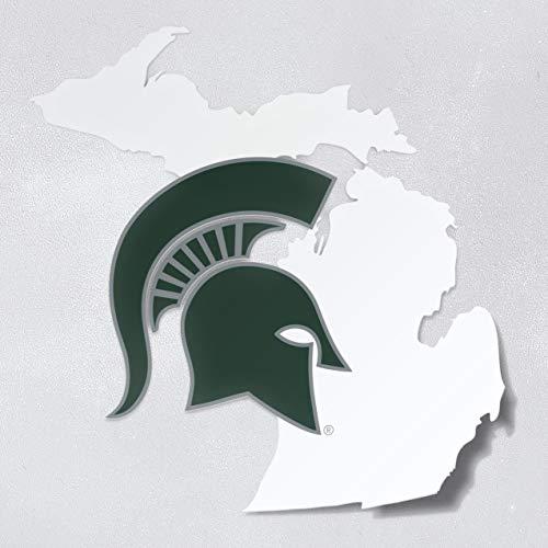 Nudge Printing Michigan State University MSU Spartan Helmet on State of Michigan Car Window Decal Bumper Sticker Laptop Sticker