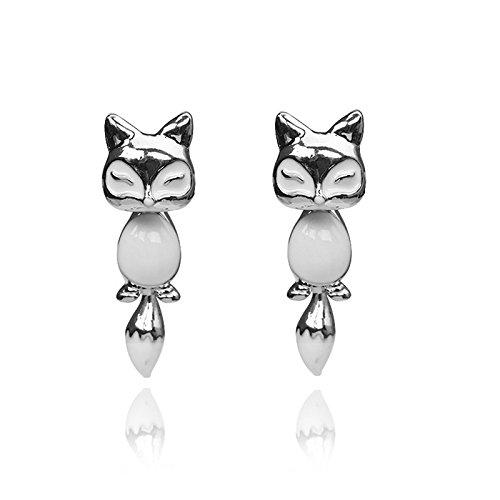 Wivily 3D Cute Animal Fox Ear Stud Earrings for Women Girl Fashion Creative Jewelry (Silver)