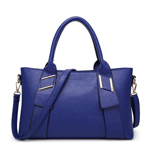 color Casual Señoras Blue Hombro Bolsas Elegante Brown Mensajero Bolsa Royal Cuero De Capacidad Viento Gran Las Bolsos Joker Jiuyizhe Mujeres gqtaOHwg