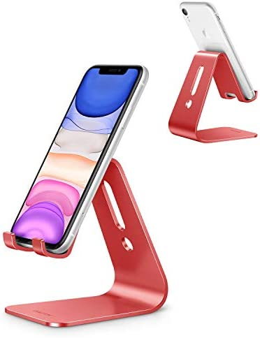 Cell Phone Stand, OMOTON C1 Phone Holder – [Upgraded] Desktop Aluminum Phone Cradle Dock Compatible with iPhone 11 Pro/ Xs Max XR 8 Plus, All Android Phones and More (Non-Adjustable), Red