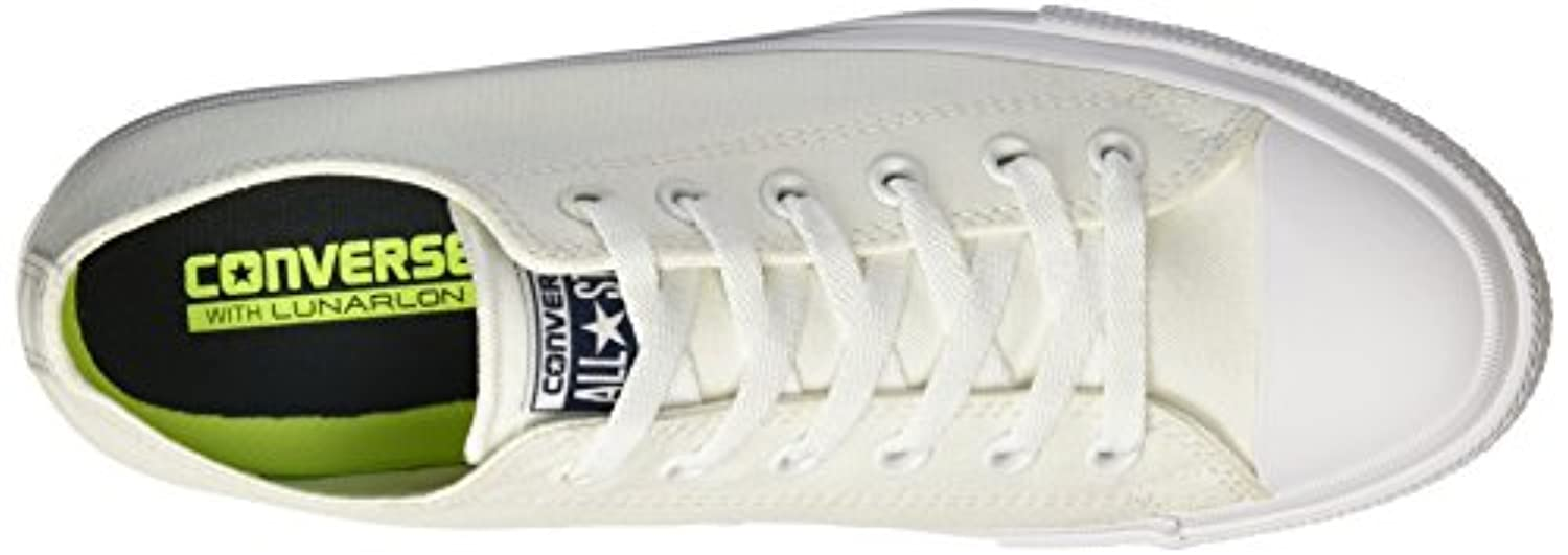 Converse Unisex Adults' Chuck Taylor All Star Ii C150154 Low-Top Sneakers, White (White/White/Navy), 3.5 UK