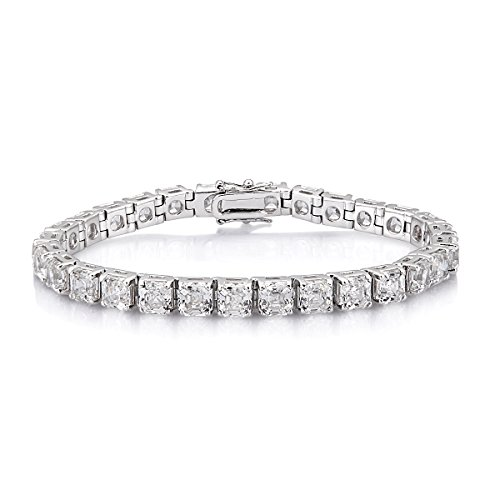 Somma Made with Swarovski Zirconia Imperial Mosiac (Asscher) Cut Bracelet for Men 7.5 Inches by Ananth Jewels Somma