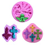 Cross Shape Cake Fondant Mold,LQQDD Non Stick Silicone Angel Baby Fondant Mold,Cupcake Decorating Tools Clay Fimo Mold Candy Silicone Mold Cupcake Toppers Chocolate Mold Baking Cookie Mould