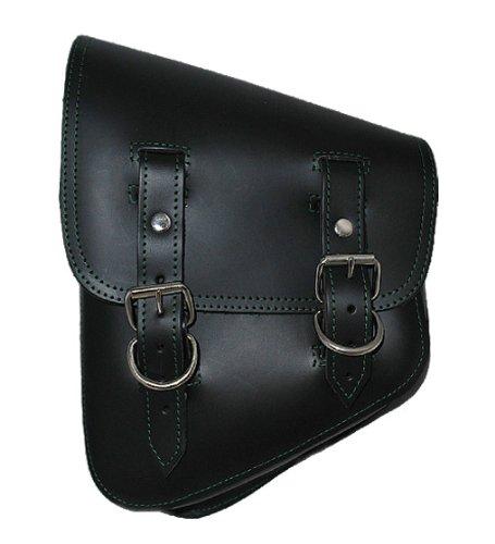 - LaRosa Harley-Davidson Softail & Rigid Black Leather Left Swing Arm Saddle Bag With Green Stitching
