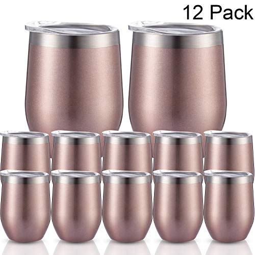 12 Packs Stainless Steel Stemless Wine Glass Tumbler, 12 OZ Double Wall Vacuum Insulated Wine Cup with Lids for Wine, Coffee, Drinks, Champagne, Cocktails (Rose Gold) (Rose - Rose Lid