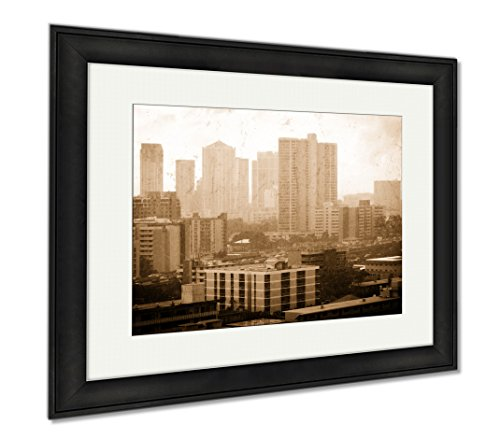 Ashley Framed Prints Rainy Honolulu, Wall Art Home Decoration, Sepia, 26x30 (frame size), Black Frame, - Picture Honolulu Frames