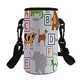iPrint Small Water Bottle Sleeve Neoprene Bottle Cover,Cute Zoo Animals Kids Fun Preschool Teaching,fit for Stainless Steel/Plastic/Glass Bottles