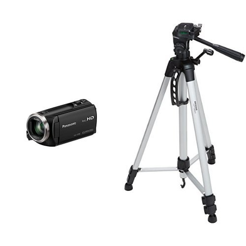 Panasonic HC-V180K Full HD Camcorder with 50x Stabilized Optical Zoom with AmazonBasics 60-Inch Lightweight Tripod