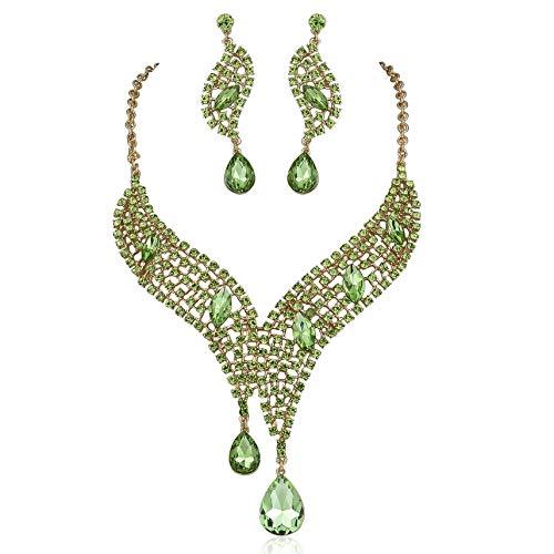 Janefashions Teardrop Lime Green Austrian Rhinestones Crystal Necklace Earrings Set N926 (Green) ()