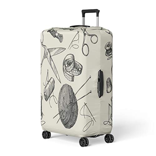 Pinbeam Luggage Cover Sewing Notions Thread Needle Scissors Ball of Yarn Travel Suitcase Cover Protector Baggage Case Fits 26-28 inches