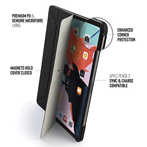 """PIPETTO Origami iPad Case Pro 12.9"""" (2018) with 5 in 1 Stand & auto Sleep/Wake Function Black"""