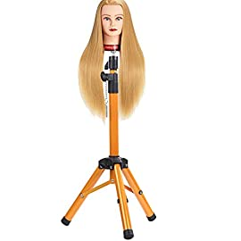 Heavy Duty Wig Stand Tripod – Alileader Canvas Block Head Tripod Metal Adjustable Tripod Stand Holder for Hairdressing Head Mannequin Manikin Head Tripod(Golden,Mannequin Head Not Included))