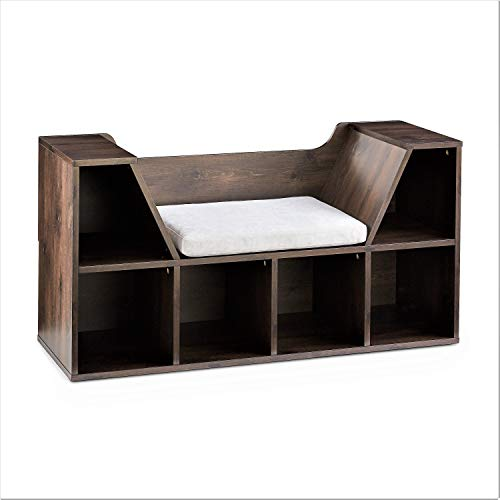 Mainstays Kids Reading Nook and Storage Book Case, Dark Chestnut ()