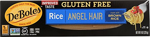(DeBoles Gluten-Free Rice Pasta, Angel Hair, 8 Ounce (Pack of 12) (Packaging may Vary) )