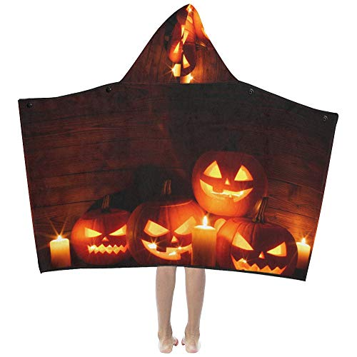 Halloween Carved Pumpkin Candle Soft Warm Cotton Blended Kids Dress Up Hooded Wearable Blanket Bath Towels Throw Wrap for Toddlers Child Girls Boys Size Home Travel Picnic Sleep Gifts Beach -