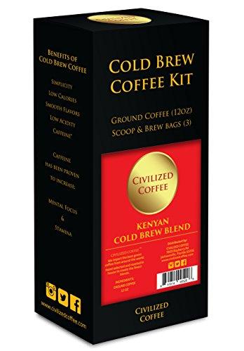 CIVILIZED COFFEE- Cold Brew Coffee Starter Kit, Ground African Kenya AA, Arabica Coffee, Brew Bags
