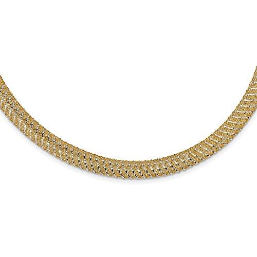Lex & Lu Leslie's 14k Two-tone Gold Polished Mesh Stretch Necklace-Prime
