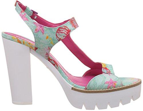 Desigual Damen Venice 3 Sandalette Grün/Pink